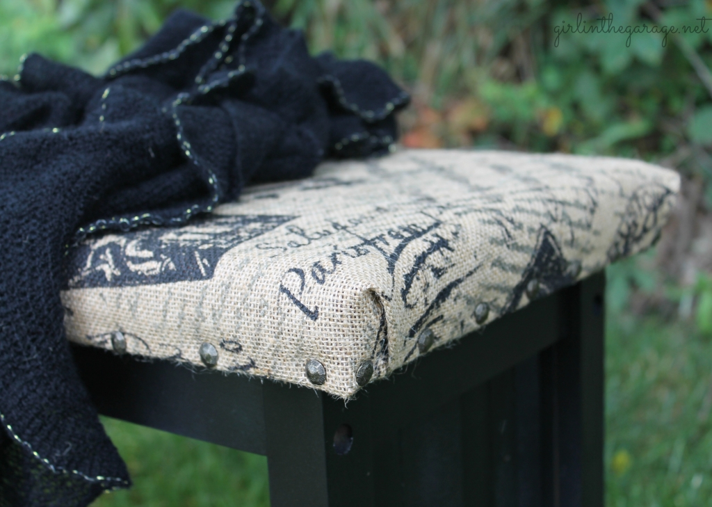 French Bench Makeover: An old yard sale bench gets new life with spray paint, burlap, and paint stirrers!  girlinthegarage.net