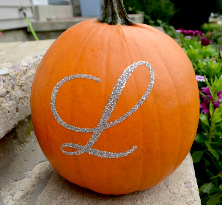 Glittered pumpkin with monogram one artsy mama