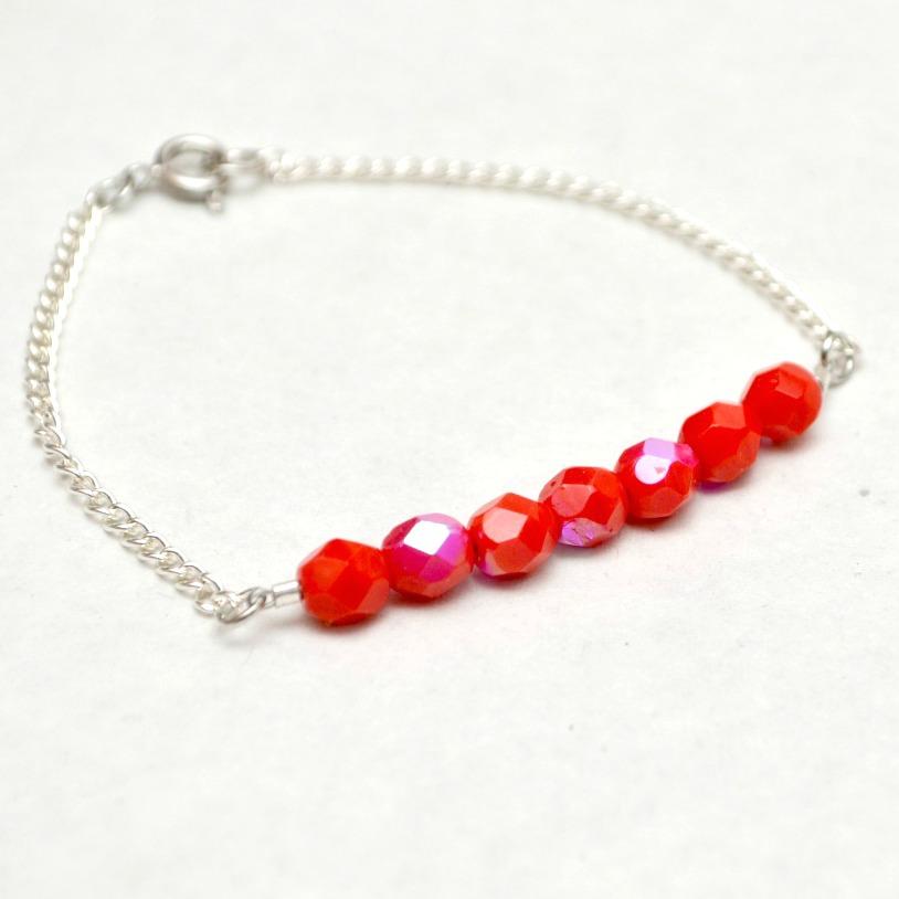 Half Beaded Red Bracelet