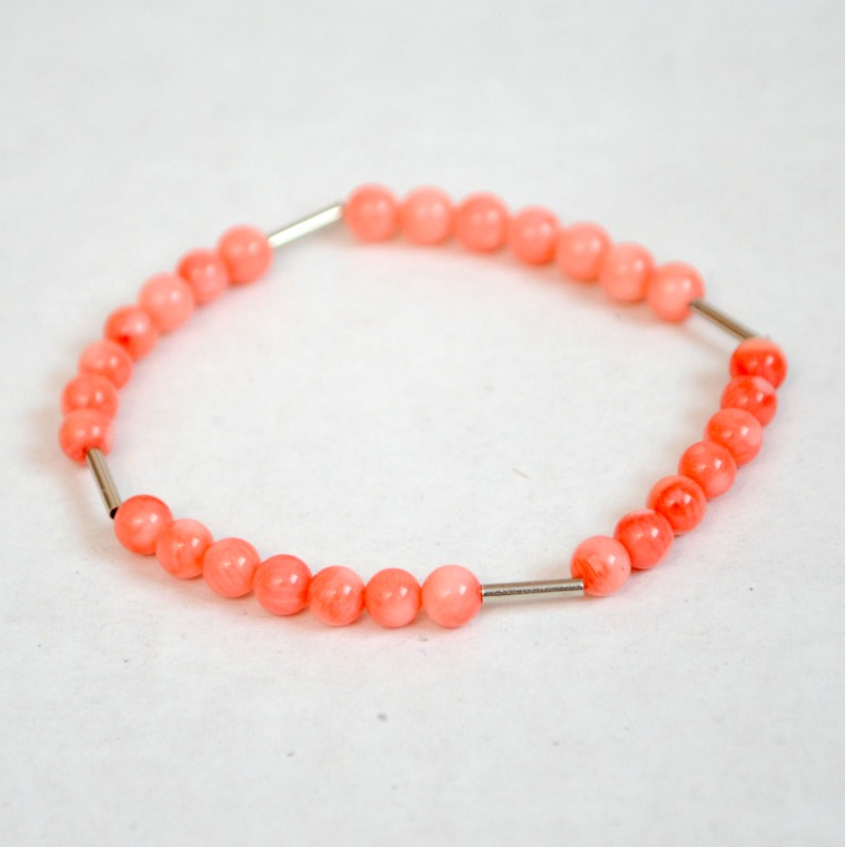 Easy DIY Stacking Bracelets: Coral and Tube Beaded Bracelet