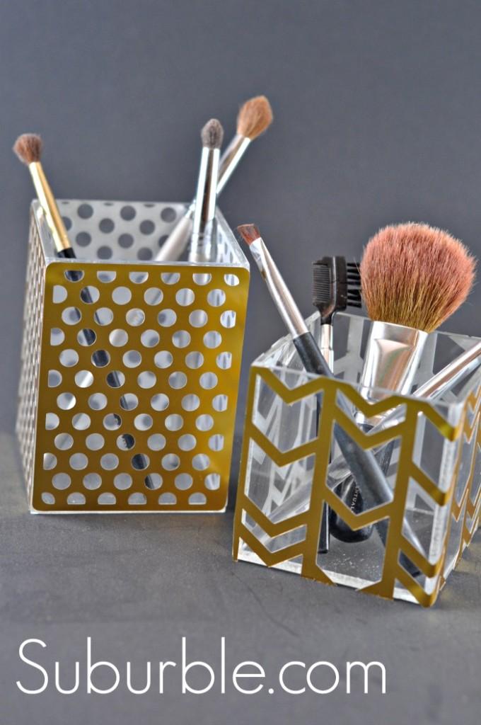 Acrylic Cubes turned Makeup Brush Organization - Suburble.com