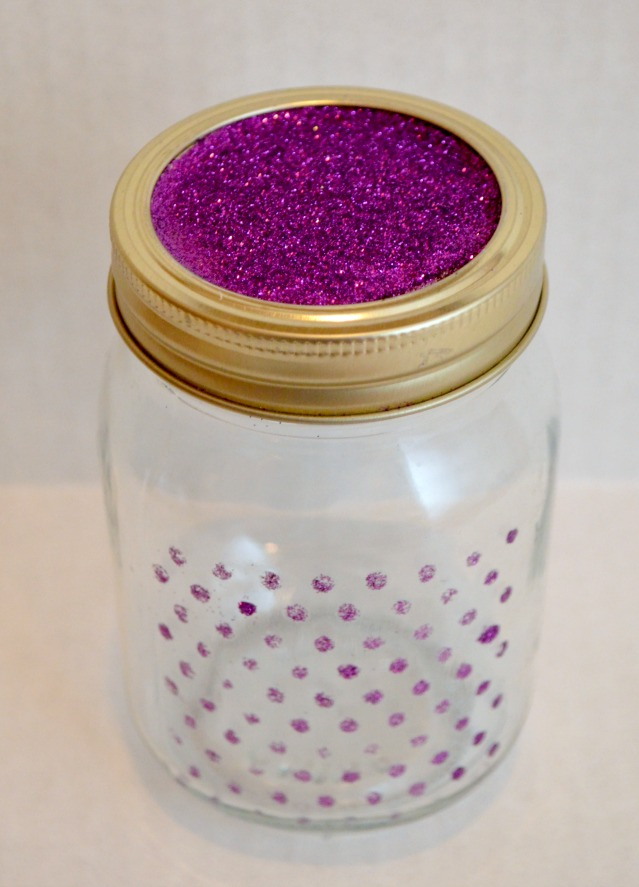 Stenciled Mason Jar with Glitter and Mod Podge