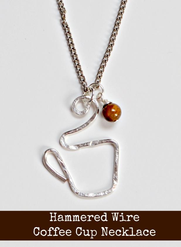 Hammered Wire Coffee Mug Necklace - Amy Latta Creations