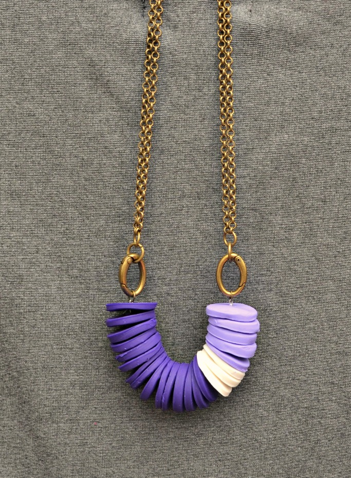 Polymer Clay Stacked Disc Necklace