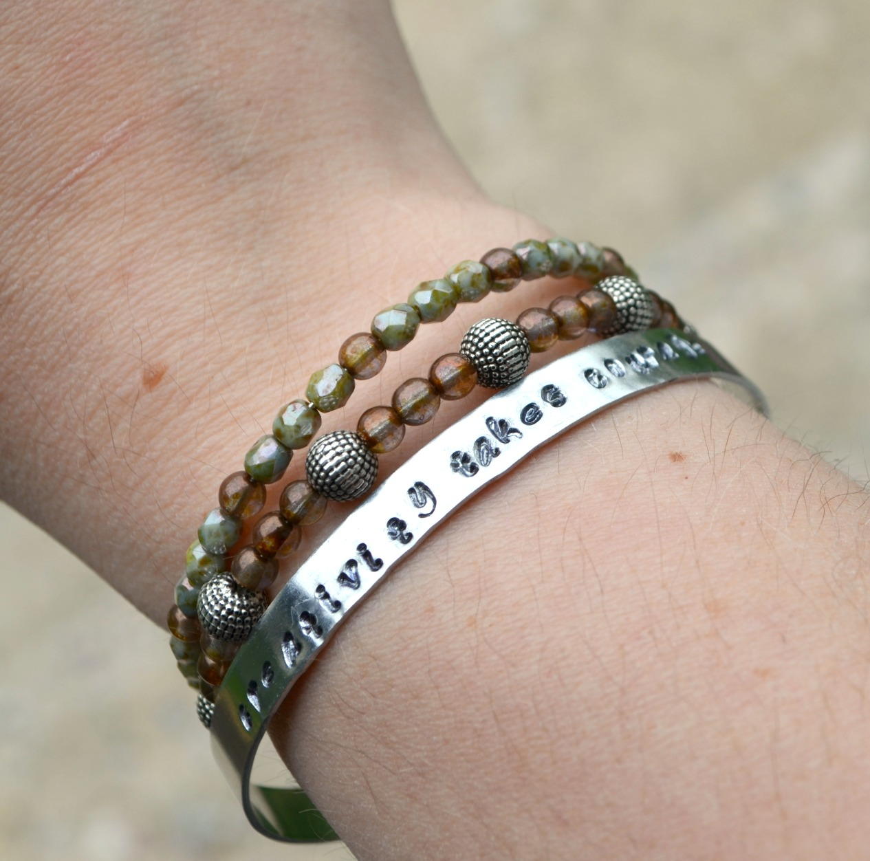 Metal stamped bangle bracelet amy latta creations for How to make hand stamped jewelry