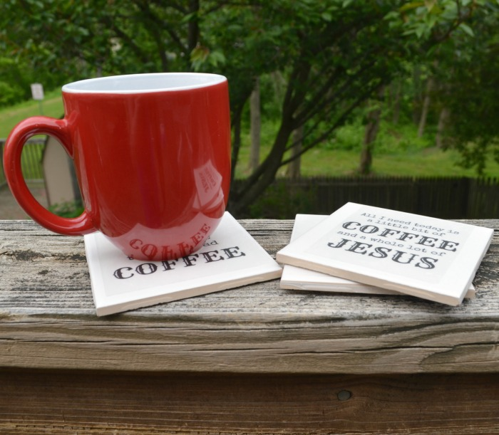 coffee coasters with silhouette clear sticker paper  and a silhouette promo too