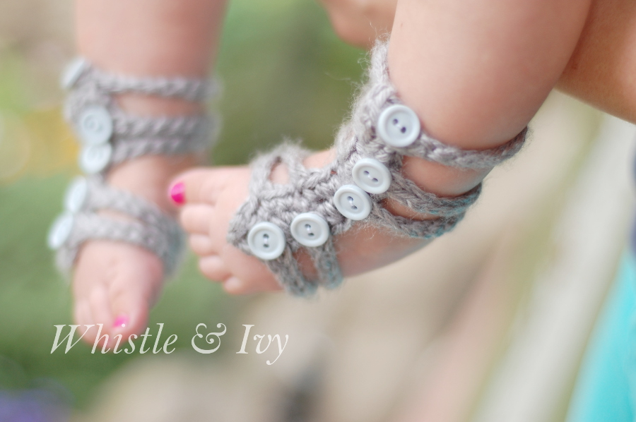Free Crochet Patterns For Baby Boy Hat And Booties : Baby Gladiator Barefoot Sandals - One Artsy Mama