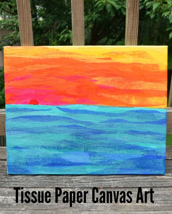 Tissue paper canvas art amy latta creations for How to make canvas painting