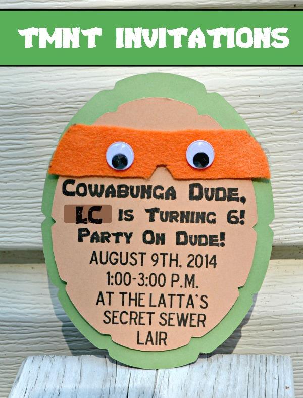 Teenage Mutant Ninja Turtle Party Invitations One Artsy Mama