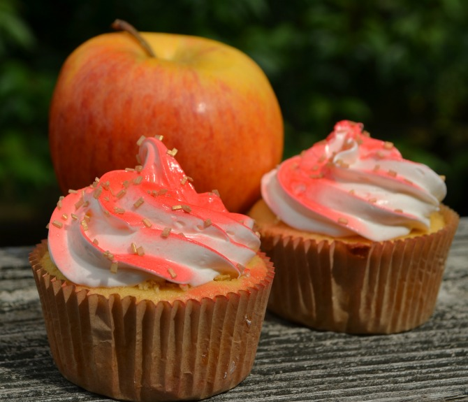 Candy Apple M&M's Cupcakes