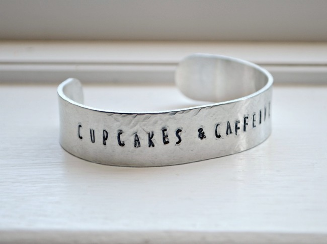 Stamped Cuff: Cupcakes and Caffeine