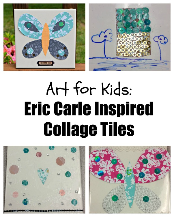 Art for Kids: Eric Carle Inspired Collage Tiles