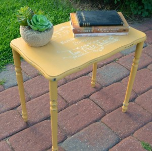 Yellow chalk painted table amy latta creations for Yellow painted table