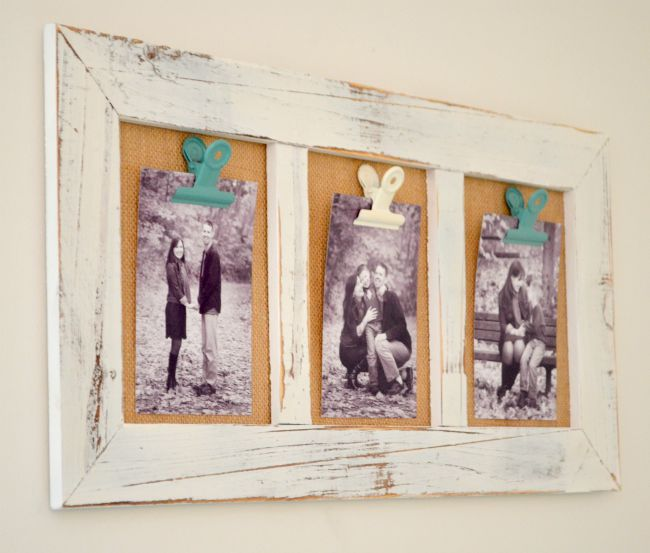 Burlap and wood Photo Display