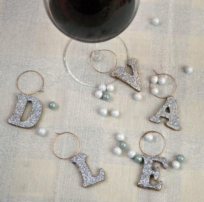 Glitter Monogram Wine Charms