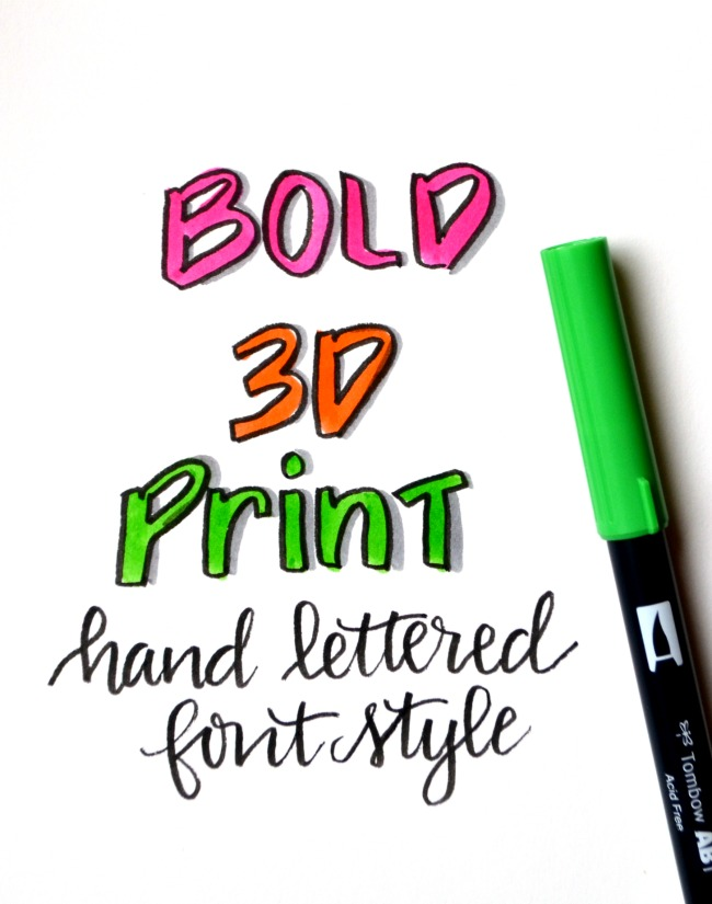 Bold 3D Print Hand Lettering Style