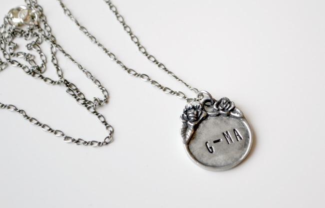 Metal Stamping Grandma Necklace