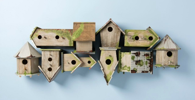Decorative Wooden Birdhouses with FolkArt Painted Finishes