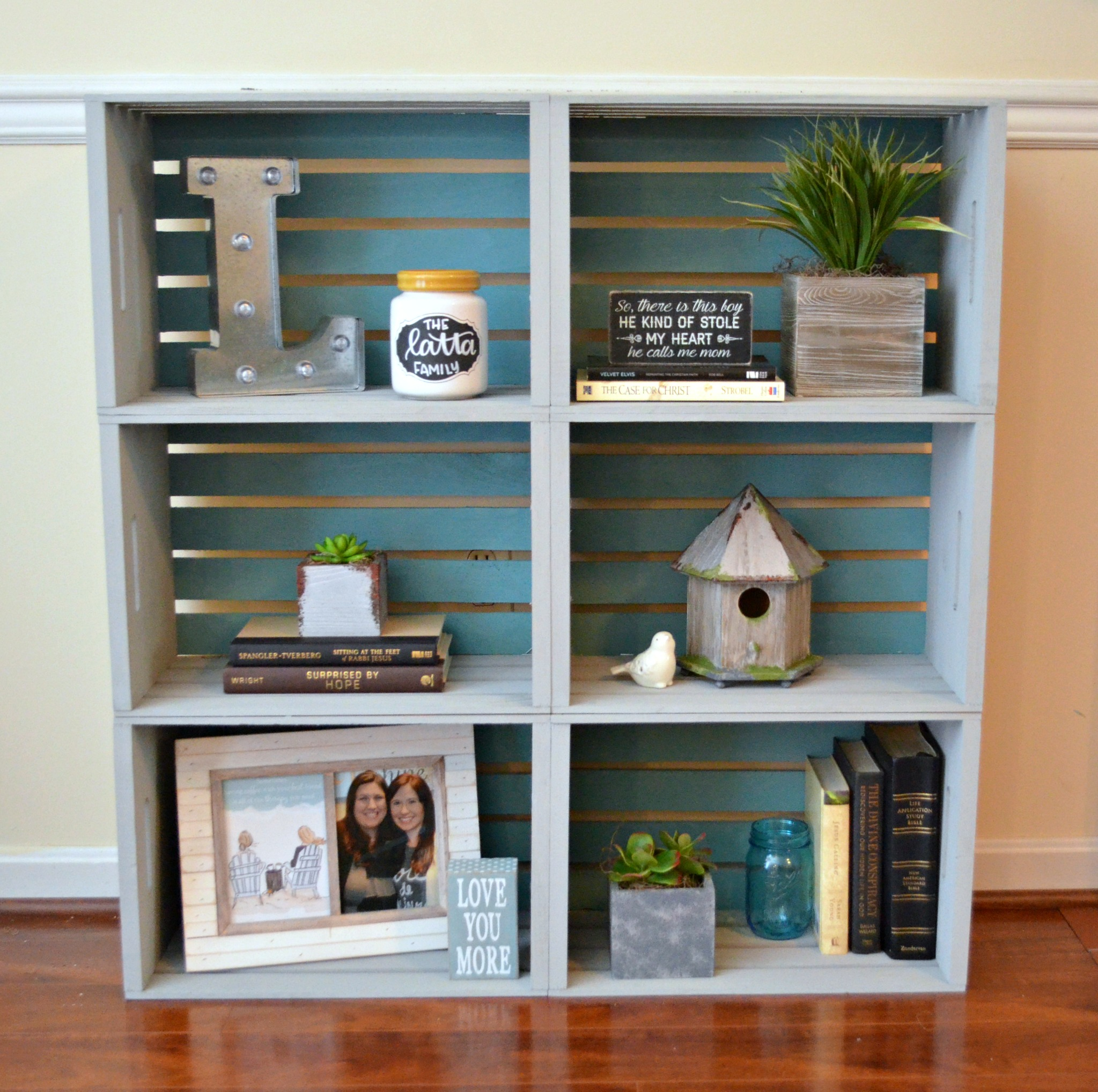 DIY Crate Bookcase Amy Latta Creations
