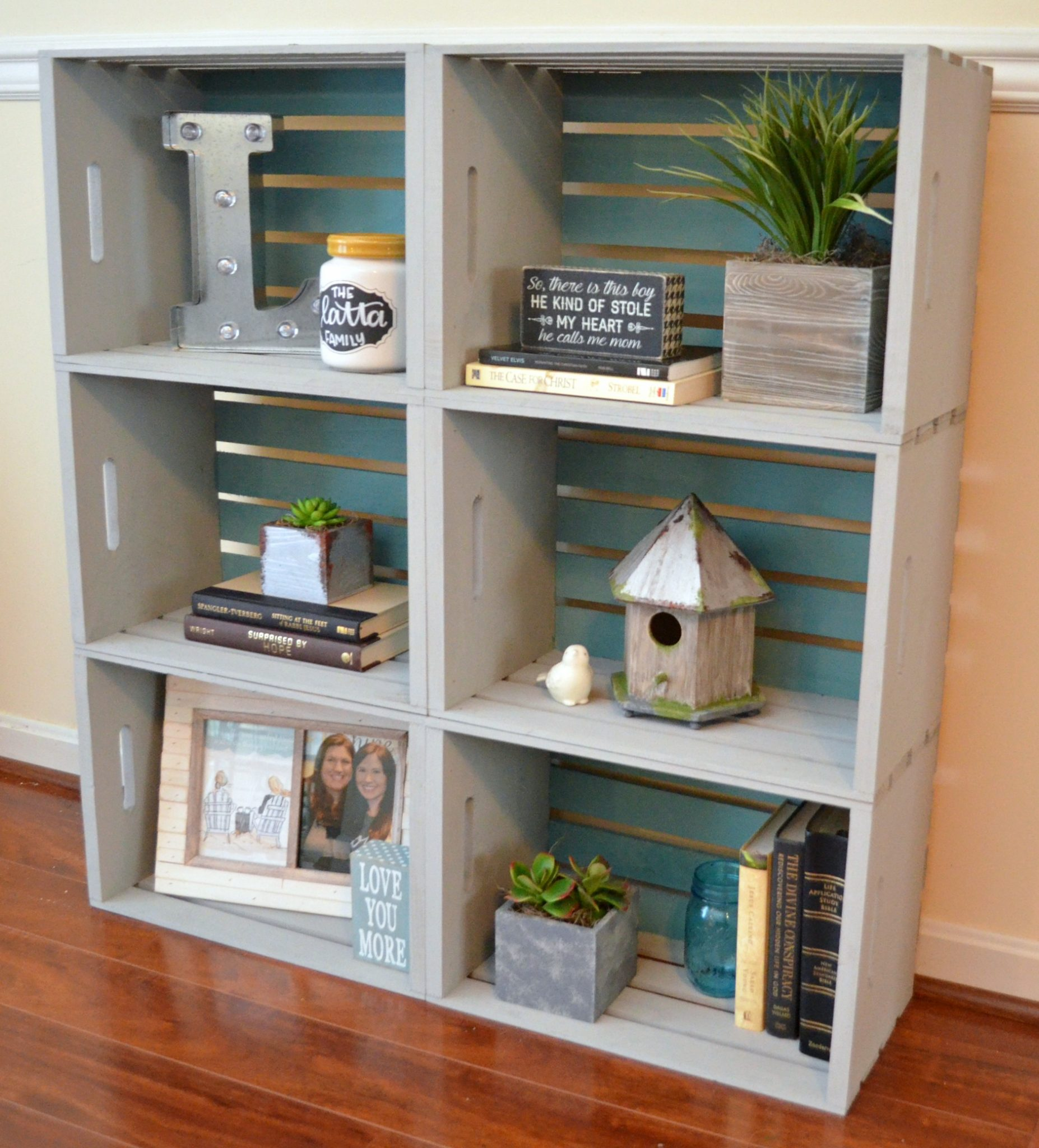 Diy crate bookcase amy latta creations for Shelves made out of crates