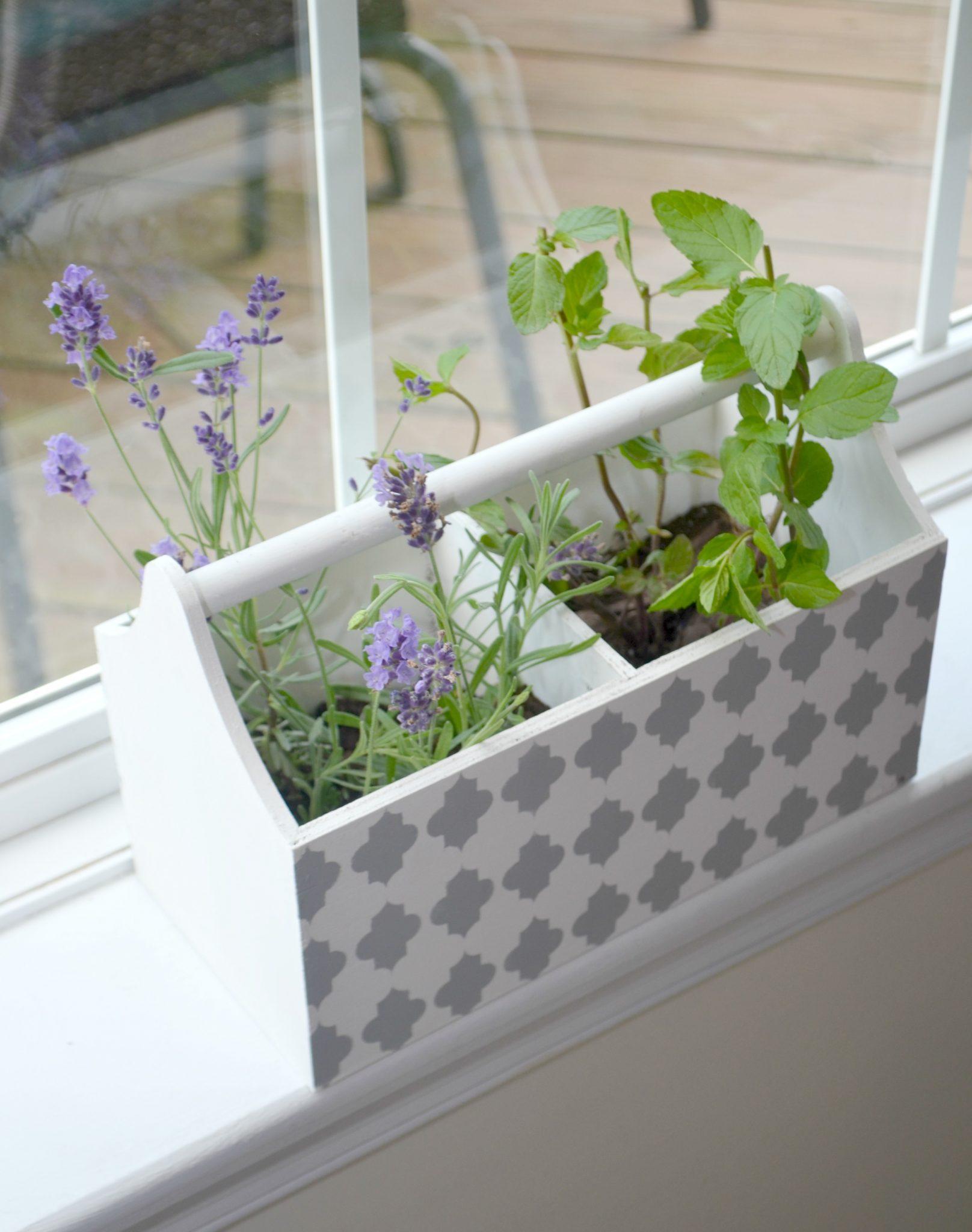 Stenciled Herb Window Box