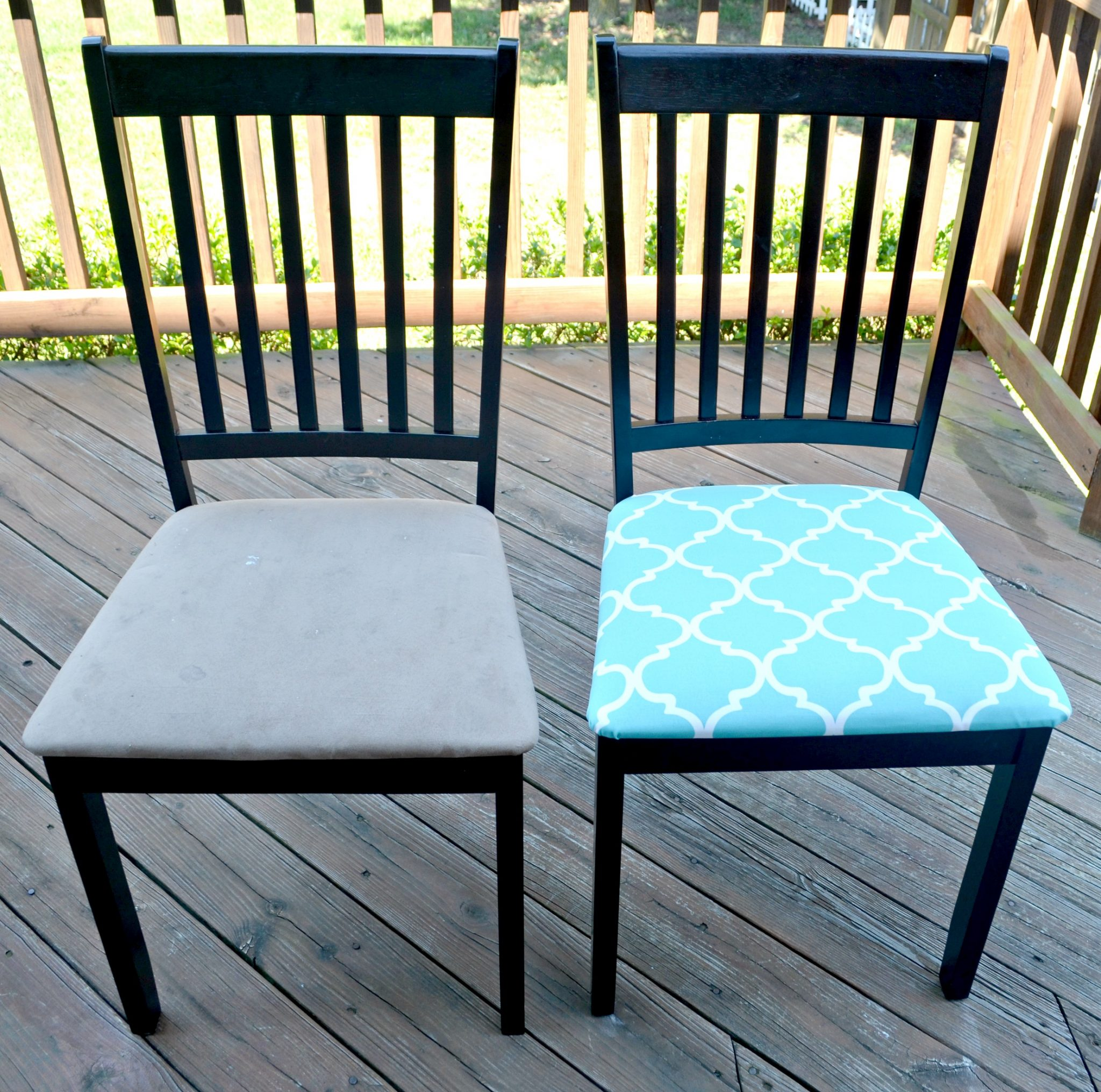 kitchen makeover table and chair redo teal kitchen chairs Step 1 First remove the seat from the chair frame