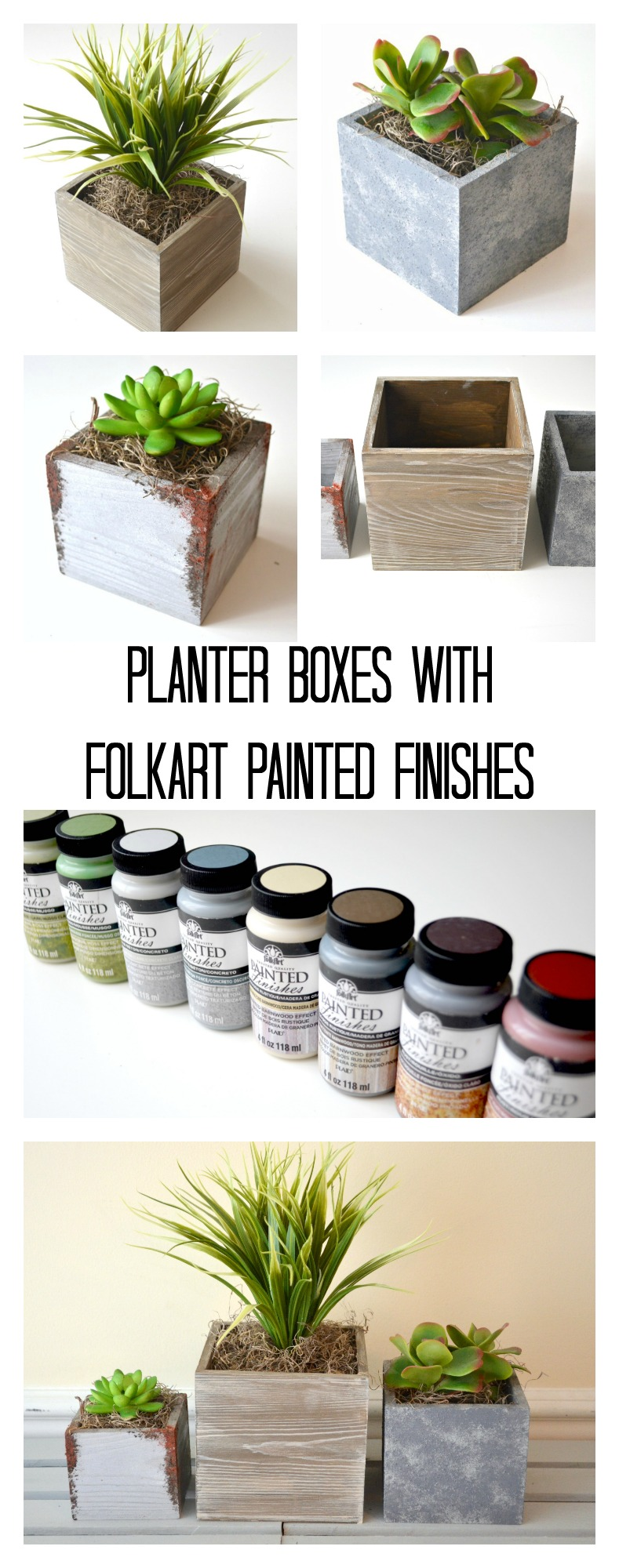 Succulent Planter Boxes with FolkArt Painted Finishes
