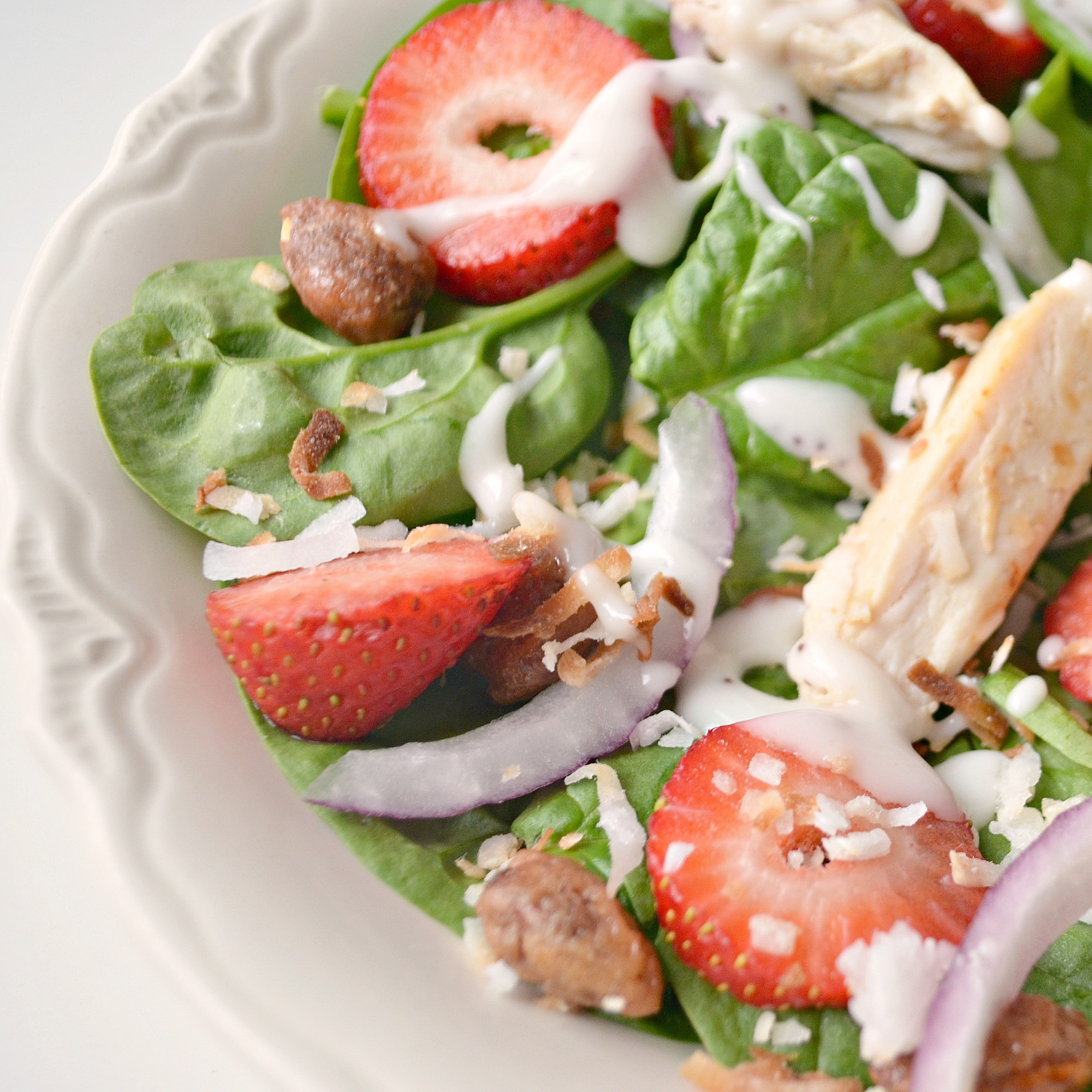 Grilled Chicken and Strawberry Spinach Salad