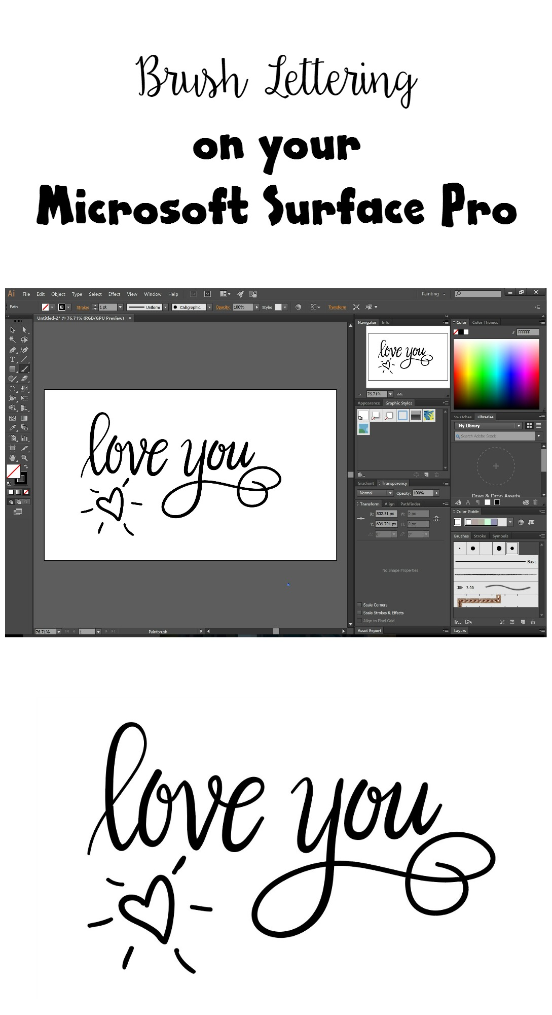 Hand lettering on the surface pro amy latta creations brush lettering on the microsoft surface pro baditri Images