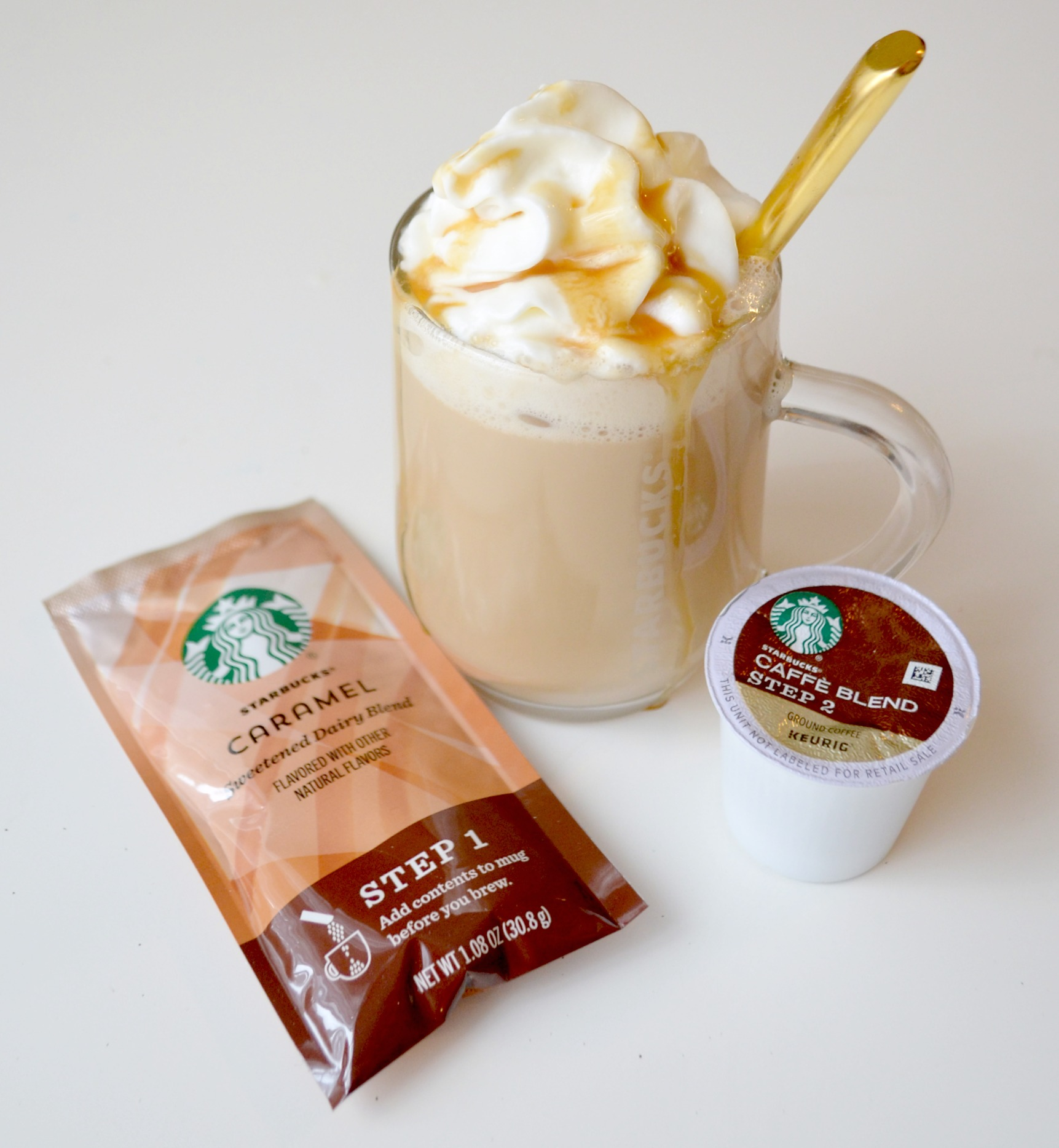 starbucks caff latte kcup pods are made from milk with no artificial flavors and they come in 3 delicious starbucks signature flavors caramel - Starbucks Keurig Cups