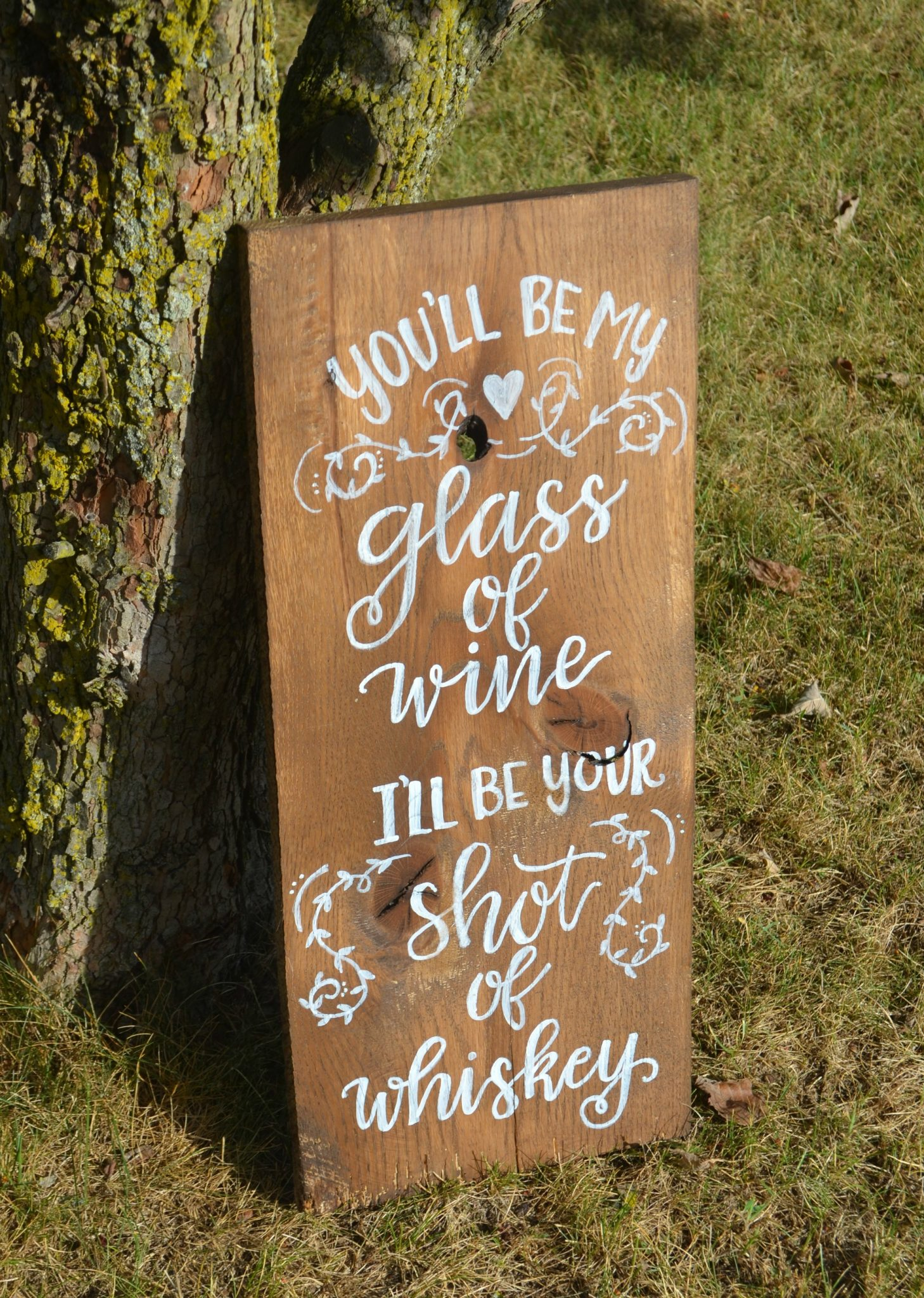 Rustic Lettered Wedding Sign: Wine & Whiskey