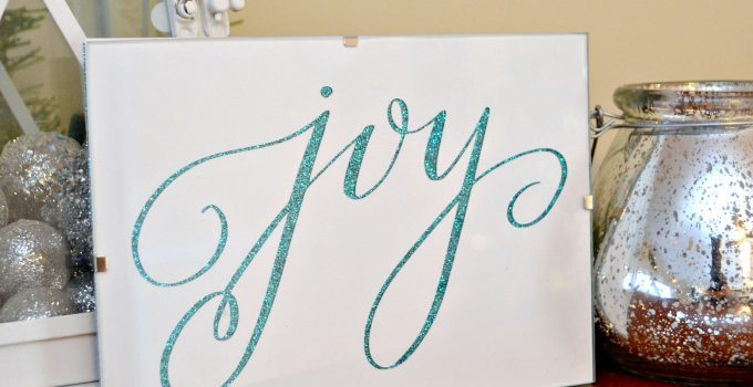 "Glittered ""JOY"" Art"