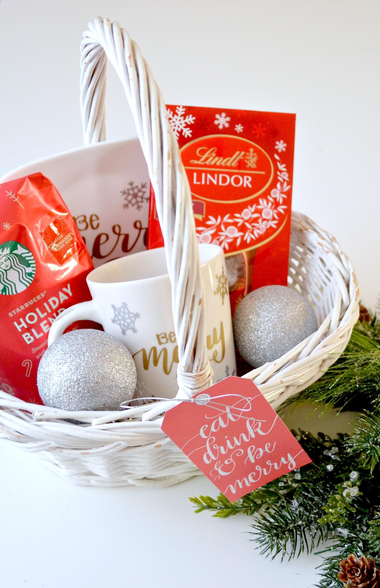 starbucks and lindt coffee chocolate christmas gift basket