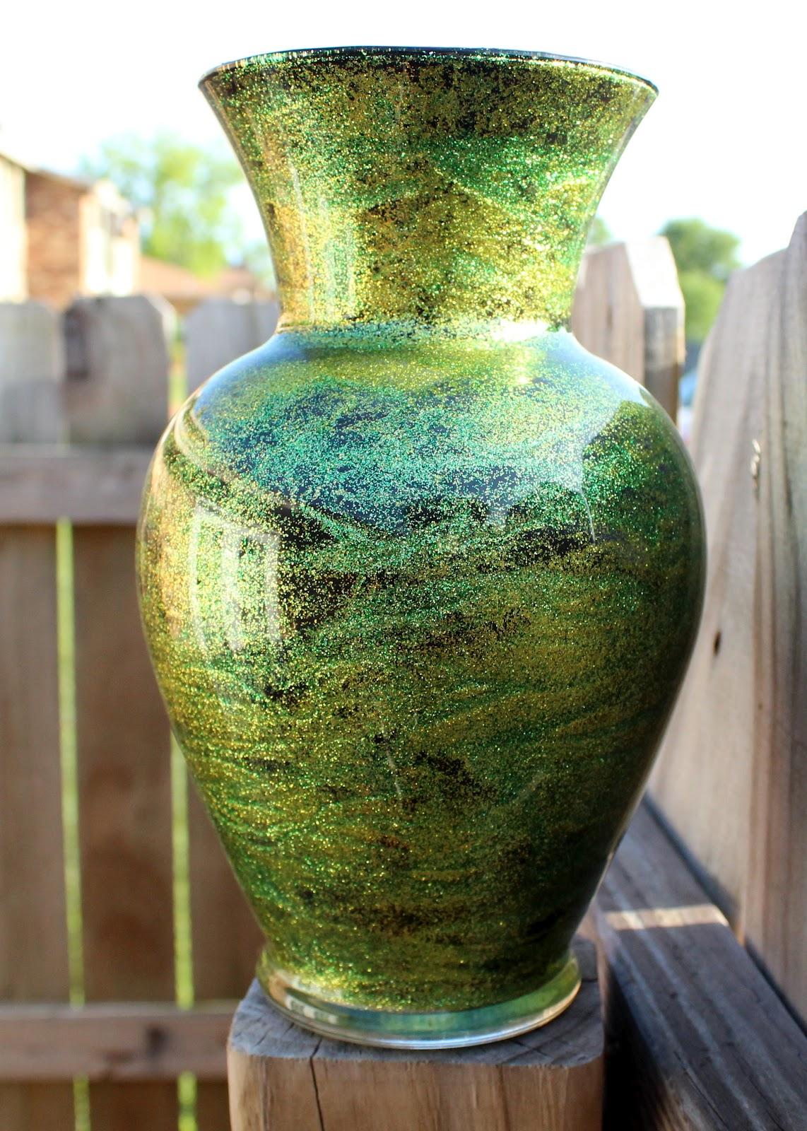 Shimmery Green Glitter Vase
