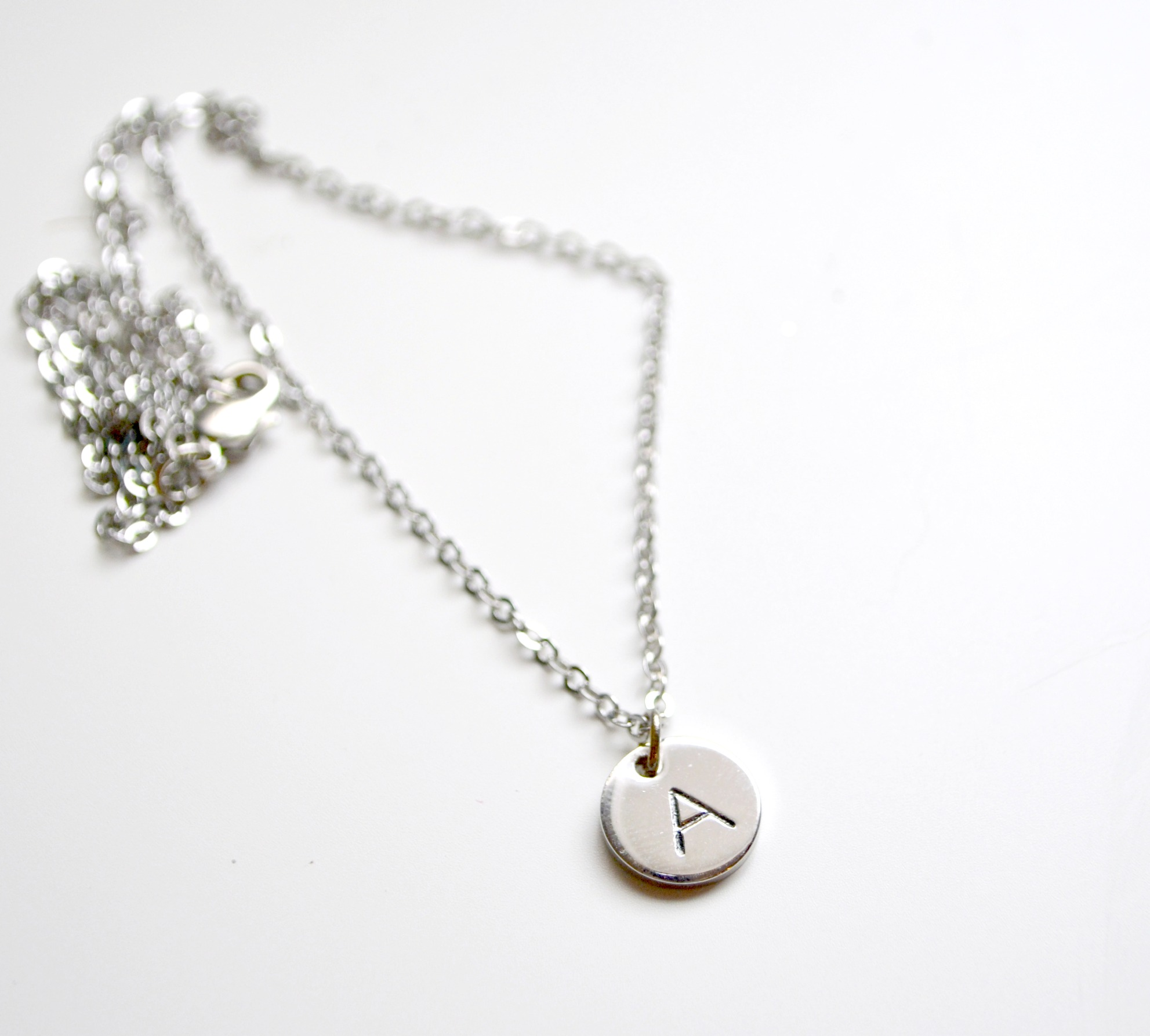 Metal Stamped Monogram Necklace