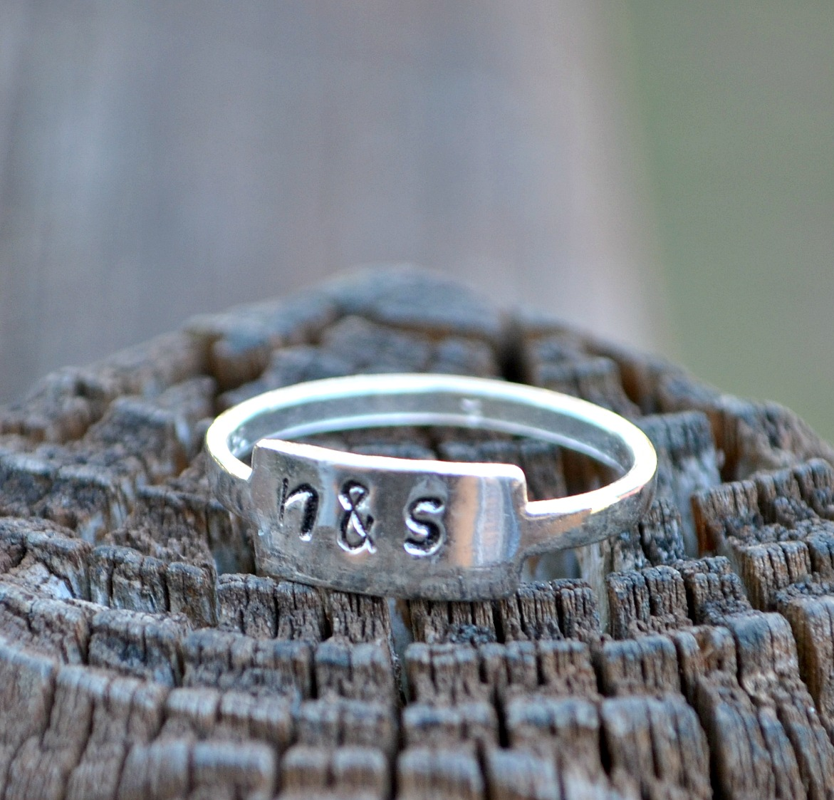 Hand Stamped Sterling Silver Tab Ring