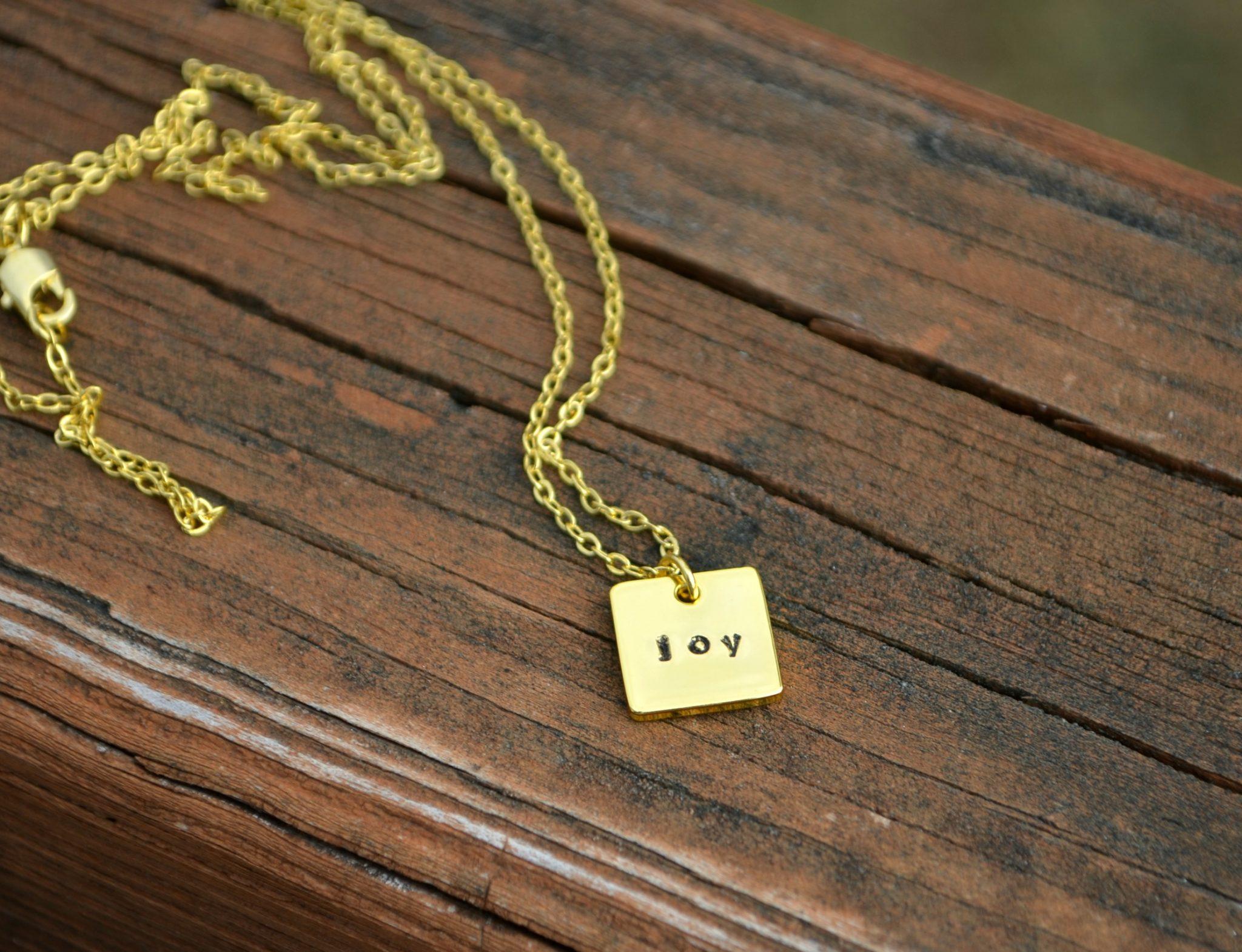 Stamped Joy Pendant