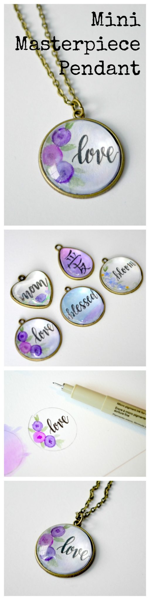 Hand Lettered Pendant Necklace