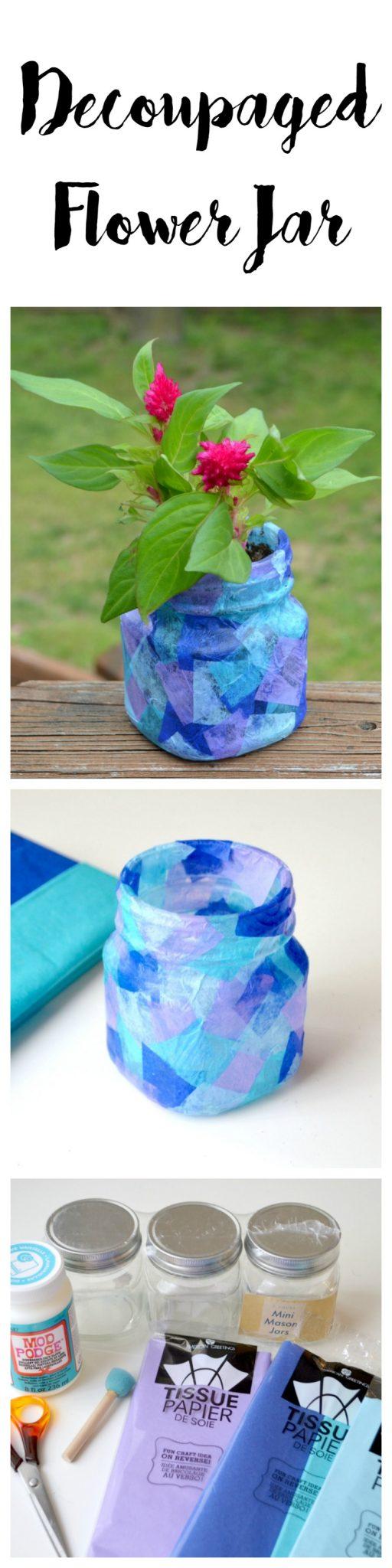 Decoupaged Flower Jar