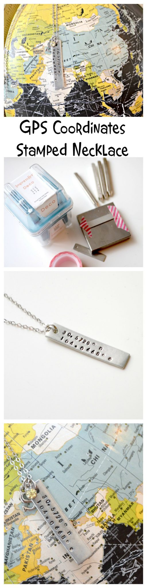 GPS Coordinates Stamped Necklace