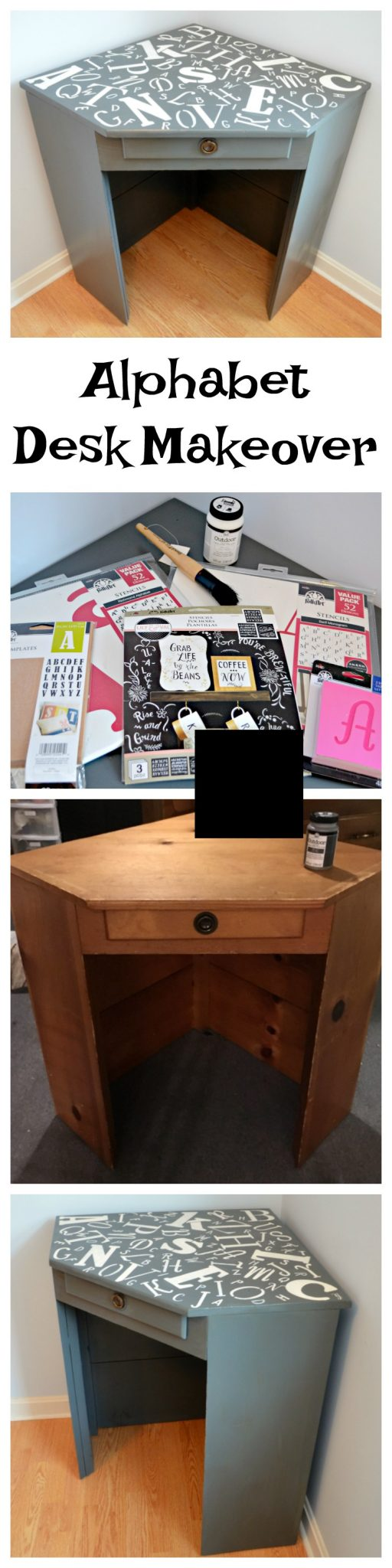 Alphabet Corner Desk Makover: Painted Furniture with Stencils