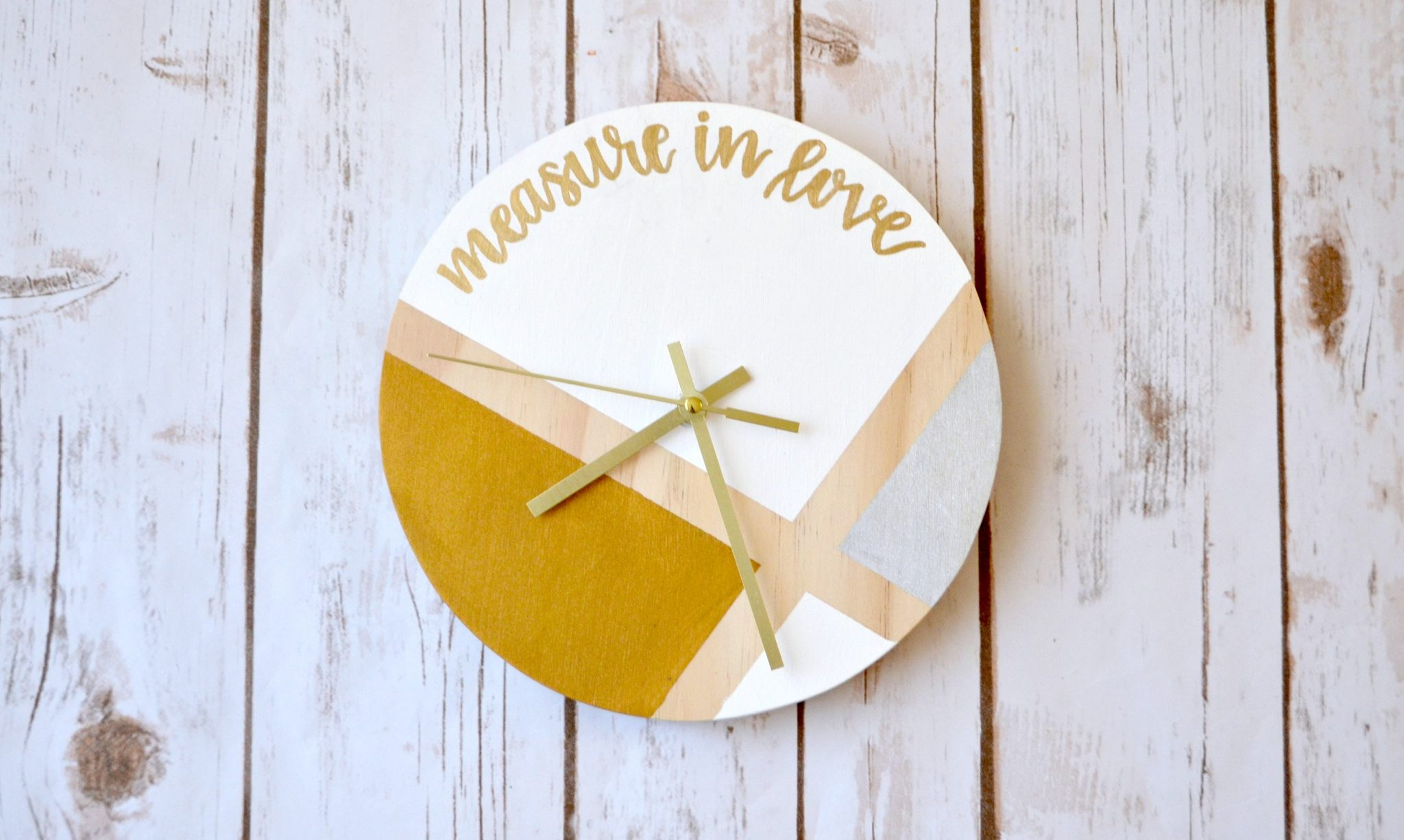 Hand Lettered Wooden Clock
