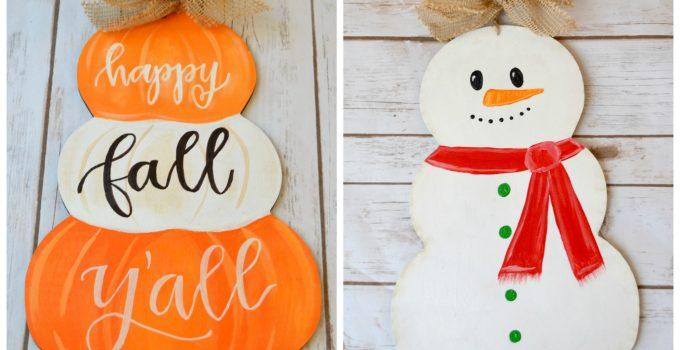 Reversible Fall & Winter Front Door Sign