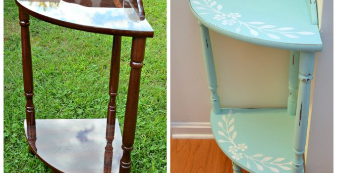 Painted & Stenciled Corner Table