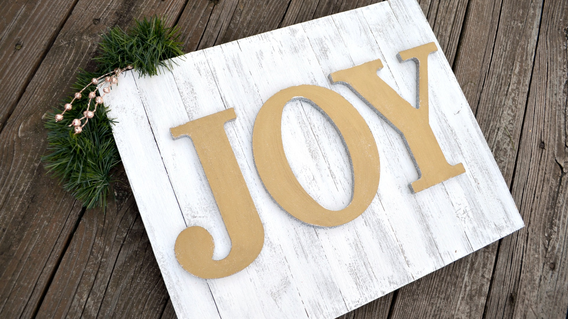 Glittered Metallic Holiday Sign