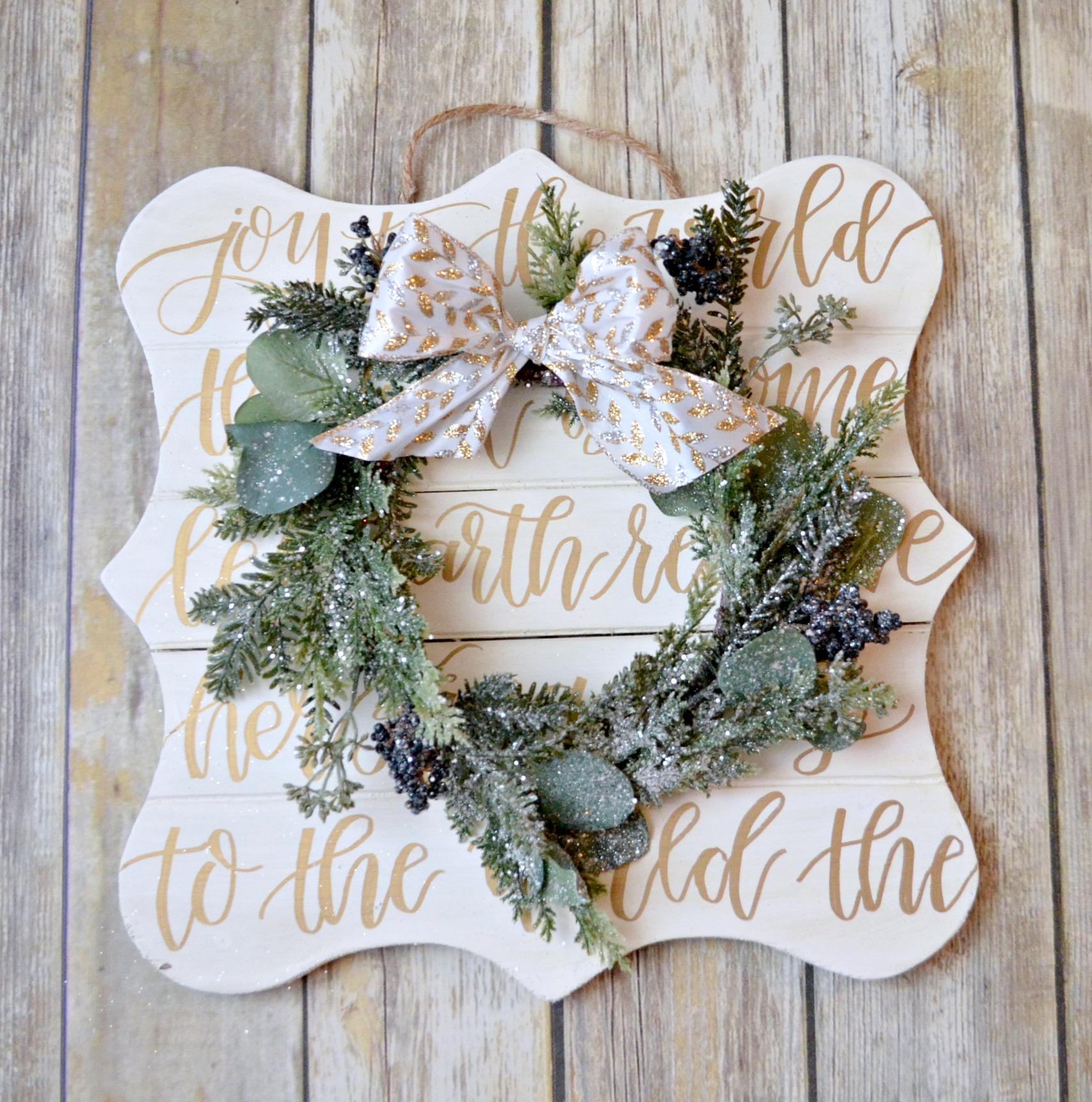 JOY Hand Lettered Christmas Wreath
