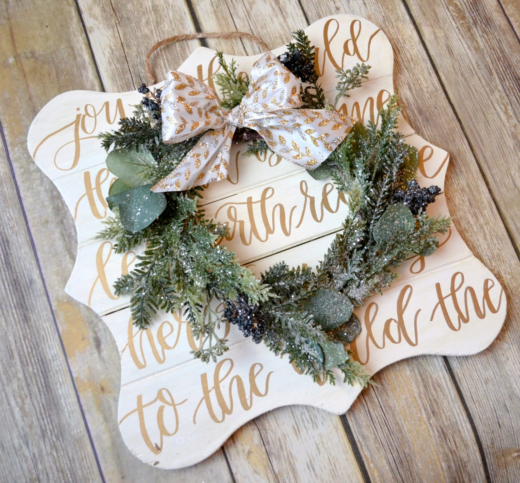 JOY Hand Lettered Christmas Wreath