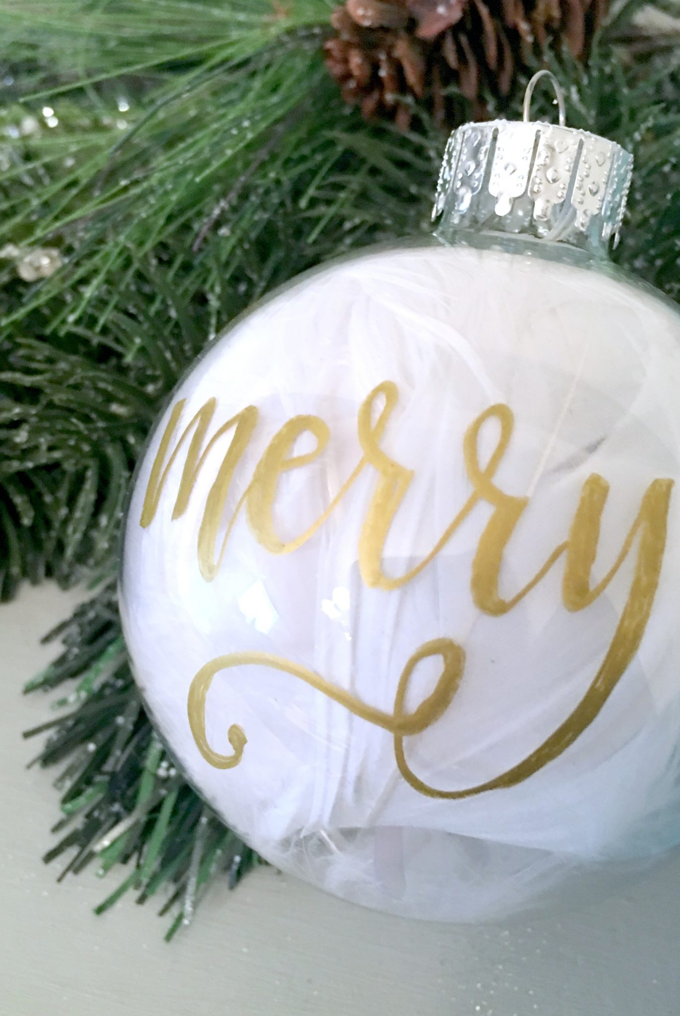 Hand Lettered Christmas Ornament