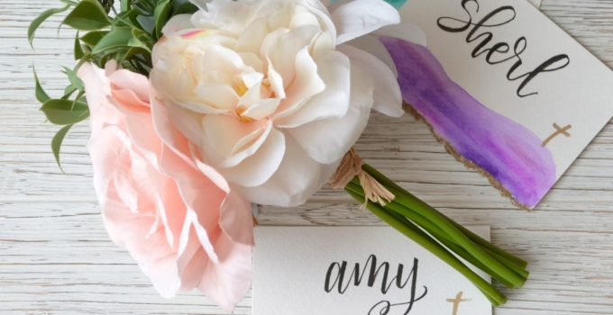 Hand Lettered Easter Place Cards with Watercolors