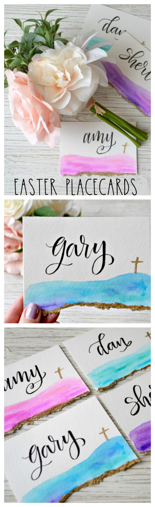Hand Lettered Easter Place Cards with Watercolor